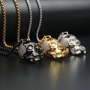 CLEAR CZ Rose Schädel Halskette Mode Edelstahl Schmuck Geschenk Anhänger Metall Link Kette Party Männer 26x21mm