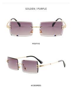Stylish design, shaped rimless diamond cut edge sunglasses for lady.Lady's sunglasses