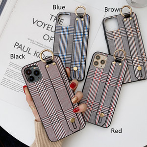 Retro Stripe Print Wristband Bracelet Leather Back Case for iPhone 12 11 Pro Max XR XS 6s 8 Plus Samsung S20 Note20 Ultra