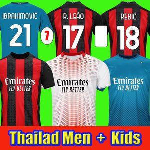 AC 20 21 Jersey di calcio Ibrahimovic 11 9 Paqueta Bennacer Romagnoli 2020 2021 Camicia da calcio Theo Rebic Men + Kids Kit via Terzo