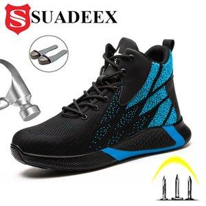 SUADEEEX Bottes de travail Sécurité Steel Toe Chaussures Hommes Respirant Sneakers Chaussures Chaussures Chaussures Randonnée Bottes anti-piercing Chaussures de protection J1210