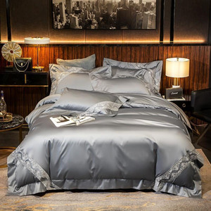 47 1000TC Egyptian Cotton Silver Grey High End Quality Duvet Cover Set 4Pcs Soft Queen King size Bedding set Bed Sheet