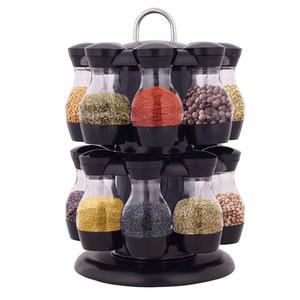 16 adet Çeşni Set Spice Rafları 360 Dönen Baharat Kavanoz Raf Mutfak Cruet Çeşni Şişe Kahve Şeker Mühür Kavanoz Konteyner Raf Ücretsiz DHL
