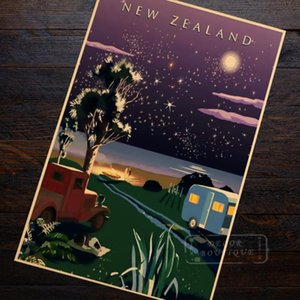 Star Sky Beauty View New Zealand NZ Landscape Travel Retro Vintage Poster Canvas Painting DIY Wall Art Home Bar Posters Decor
