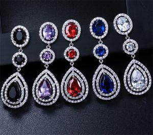 Elegant Water Drop Earrings For Women Dropping Long Tassel Zircon Red Black Blue Earrings Wedding Bridal Jewelry Prom Party Earrings Set