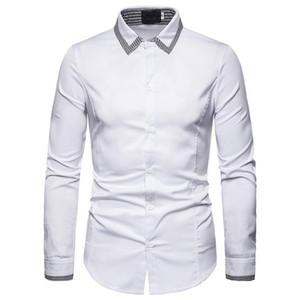Мужские повседневные рубашки белые плед проверены рубашка мужчины 2021 весенняя стройная пригонка с длинным рукавом пункт кнопки вниз платье Chemise Homme XXL