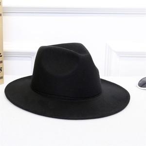 İshowtienda yün kadın şapkaları klasik beyefendi geniş ağız keçe yün fedora şapkaları disket cloche top caz kap için