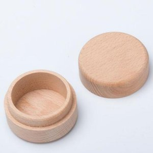 Beech Wood Pequeña caja de almacenamiento redondo Retro Vintage Caja de anillo para la boda Estuche de joyería de madera natural HWB3309