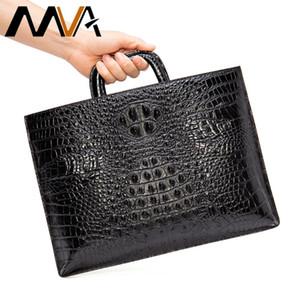 MVA Men's Briefcase Brand Alligator Mens Leather Laptop Bags For 13.3 inch Vintage Shoulder Bag Genuine Leather Men Handbag 9099