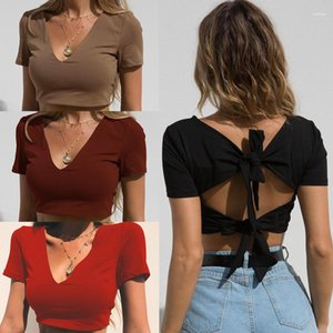 Top a maniche Tees Donne Designer Crop Top Color Solid Color Short Magliette Deep Deep V-Neck Fashion Breve