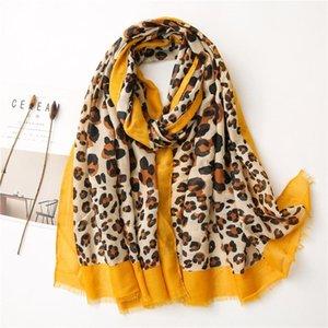 Women New Fashion Leopard Dot Fringe Viscose Shawl Scarf Spain Brand Designer Muffler Headband Sjaal Muslim Hijab Sjaal 180*90Cm
