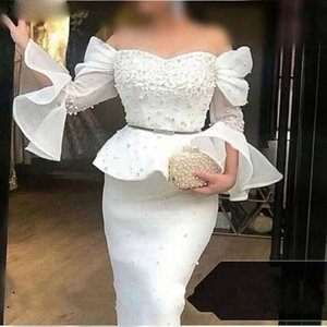 New Arrival Mermaid White Evening Dresses 2021 Off The Shoulder Pearls Dubai Saudi Arabic Long Prom Gowns Robes de bal