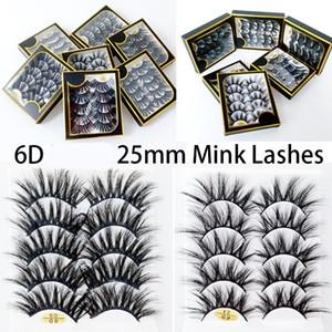 25mm 6D FAUX MINK PELLICE CROSS INCROSSO Ciglia FALSE 5 coppie lunghe ciglia di occhi lunghi fatti a mano Trucco spessore di bellezza
