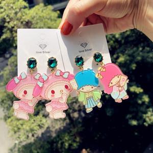 1pair New Cartoon Acrylic Little Twin Stars My Melody Dangle Earrings Anime Girl Women's Fashion Earrings Figure Toys Gift