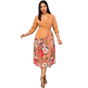 Fashion Floral Print Patchwork African Dress For Women Notched Neck Full Sleeve Midi Dress Autumn New Elegant Office Lady