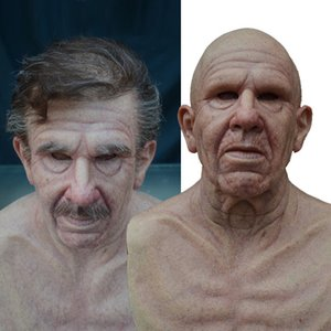 1 Pcs Realistic Man Mask Latex Horror Grandparents Old People Full Head Masks Halloween Costume Party Props Adult
