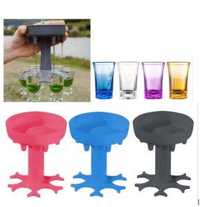 6 Shot Glass Dispenser Holder Wine Whisky Beer Dispenser Rack Bar Accessories Caddy Dispenser Party Games Drinking Tools