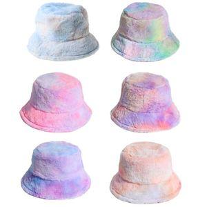 Donne inverno Rainbow Tie Dye Secchio Cappello Fluffy Peluche Pescatore caldo Pescatore Cappuccio X7xC