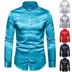 Stylish Men's High Quality Casual Fashion Glossy Long Sleeve Henry Collar Shirt Male Casual camisa masculina Plus Size