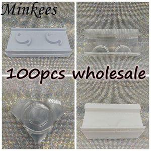 wholesale 100pack clear lash trays plastic mink lashes holder eyelash rectangletray for eyelash packaging box case bulk vendors