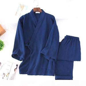 Spring Pure Cotton Crepe Japanese Kimono Pajama Set Yukata Men Women Traditional Trousers Lovers Home Furnishing Serve Sleepwear