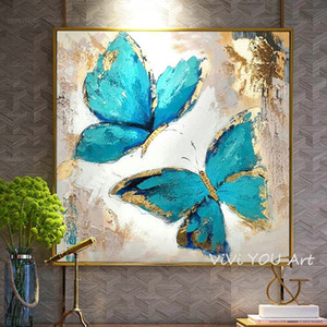 Hand Painted Abstract Art Blue Butterfly Oil Painting On Canvas Art Wall Painting For Living Room wall pictures Home Decoration Z1202