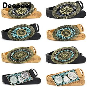 Deepeel 1pc 3.5*100\115cm Fashion Corset Wide Female Belt Alloy Smooth Buckle Belts with Stones Buckles Decorative Waistband 201120