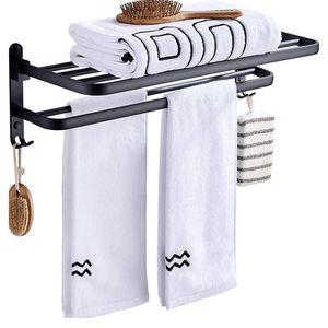 Toalla Toalla Tenedor de baño mate negro Aluminio Organizador Percha Montado Montado Plegable Locker Locker Storage Shelf Accesorios de gancho