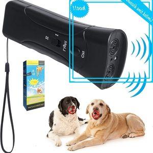 3 في 1 Ultrasonic LED PET PELLELER STOP Bark Dog Training Trainer Device Anti Barking مصباح يدوي 2 ألوان