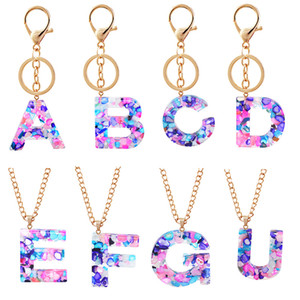 Fashion Colorful Stones 26 Letters Alphabet Acrylic Key Chain Phone Holder Charm Pendant Accessories and Beautiful Necklace
