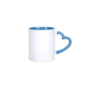 A-DIY Sublimation 11oz Ceramic Mug with Heart Handle 320ml Cups with Colorful Inner Coating Special Water Bottle Coffee Pottery