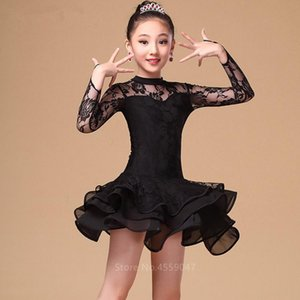 Children Latin Dance Dress Ballroom Baby Girl Tutu Lace Black Red Design Stage Clothing Kids Salsa Samba Dance Costume 120-160CM