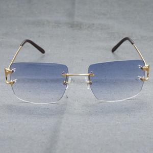 2021 Vintage Übergröße Randlose Sonnenbrille Männer Frauen Mode Brillen für Fahrer Dekoration Sonnenbrille Rahmen