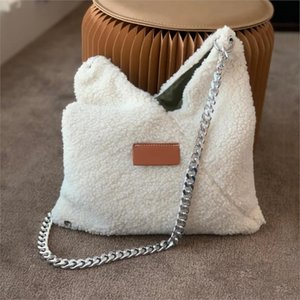 Winter Lamb Fur Women Handbag Thick Chain White Shoulder Bags Brand Fur Large Tote Female Messenger Bag Bucket Bag