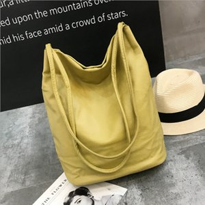 2021 Trendy lychee washed leather PU bucket bag simple fashion shoulder bag large capacity women's shopping bag solid handbag