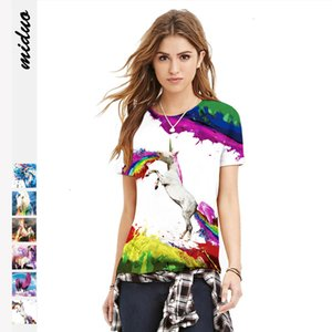 Digital printing casual women's T-shirt new fashion slim fit short sleeve top