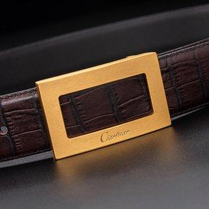 2020 Ciartuar nuevo diseño Mejor calidad traje de calidad cinturón correa de cuero genuino Pantalones Pantalones Primera capa Latón astilla Hebilla Envío gratis Y1220