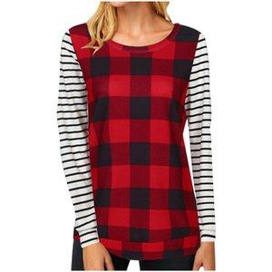 2021 S-2XL Womens Plaid Patchwork Blouses 디자이너 T 셔츠 스트라이프 풀오버 까마귀 스포츠 캐주얼 Tshirt 땀 셔츠 복장 탑 새로운 G11205