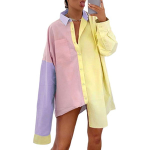 Sexy Oversized Blouse Women 2020 Autumn Trendy Colorful Tops Long Sleeve Shirt Dress