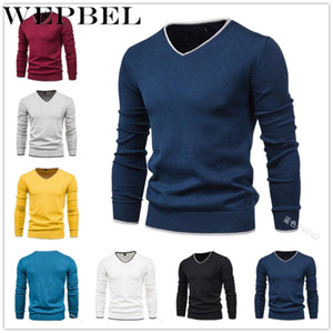 WEPBEL Men Autumn Winter Skinny Knitted Pullover Sweater Top Casual Men Fashion Solid Color Long Sleeve V Neck Outwear Knitwear