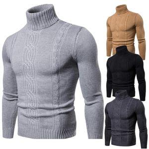 Fashion Autumn Winter Warmth Turtelneck Sweater Man High Lapel Pullover Bottoming Shirt Jacquard Knitted Sweater Men's Clothing