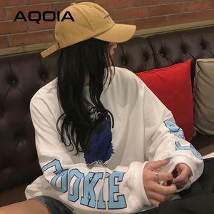 Aqoia Herbst faule Stil Cartoon Druck Lose Frauen Sweatshirt Harajuku Übergröße Frauen Sweatshirt Ins Mode Hoodies 201203