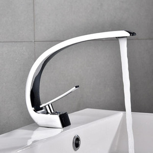 High-Standard Copper Hot and Cold Basin Faucet Paint Black Washbasin Single Hole Mixing Faucet Waterfall Chrome Black White Gold