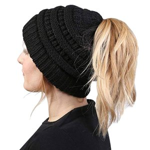 Women Beanie Hat Lady Beanie Tail Messy Soft Bun Knitted Cap Stretchy Winter Warm Stretchy Knit Hats Accessories