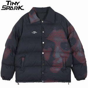 Men Hip Hop Jacket Parka Girl Print Streetwear Windbreaker Harajuku Winter Padded Jacket Cotton Coat Puffer Warm Outwear 201123