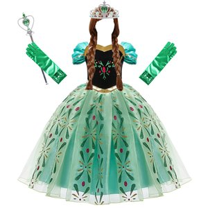 Anna Dress for Girl Cosplay Snow Queen Princess Costume Kids Halloween Clothes Children Birthday Carnival Fancy Disguise and Wig Q1203 Q1203