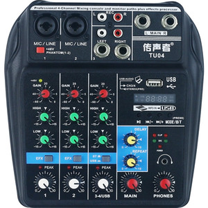 Mélangeur audio portable TU04 pour la station de radio Interface USB à 4 canaux avec Bluetooth
