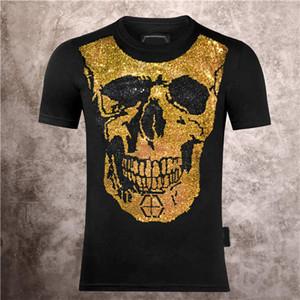 2021 New Hombres Cráneo sonriente cara impresión Phillip Plain Fashion Casual Summer Summer Camiseta de manga corta