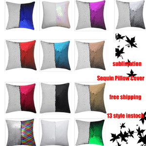 13 style Mermaid Pillow Cover Sequin Pillow Cover sublimation Cushion Throw Pillowcase Decorative Pillowcase That Change Color Gifts for Gir