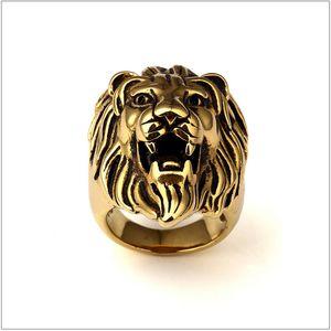 Мужчины из нержавеющей стали Кольцо Hip Hop Punk Style Vintage Golden Color Black Oil Lion Head Кольца Ювелирные Изделия Размер 7-15